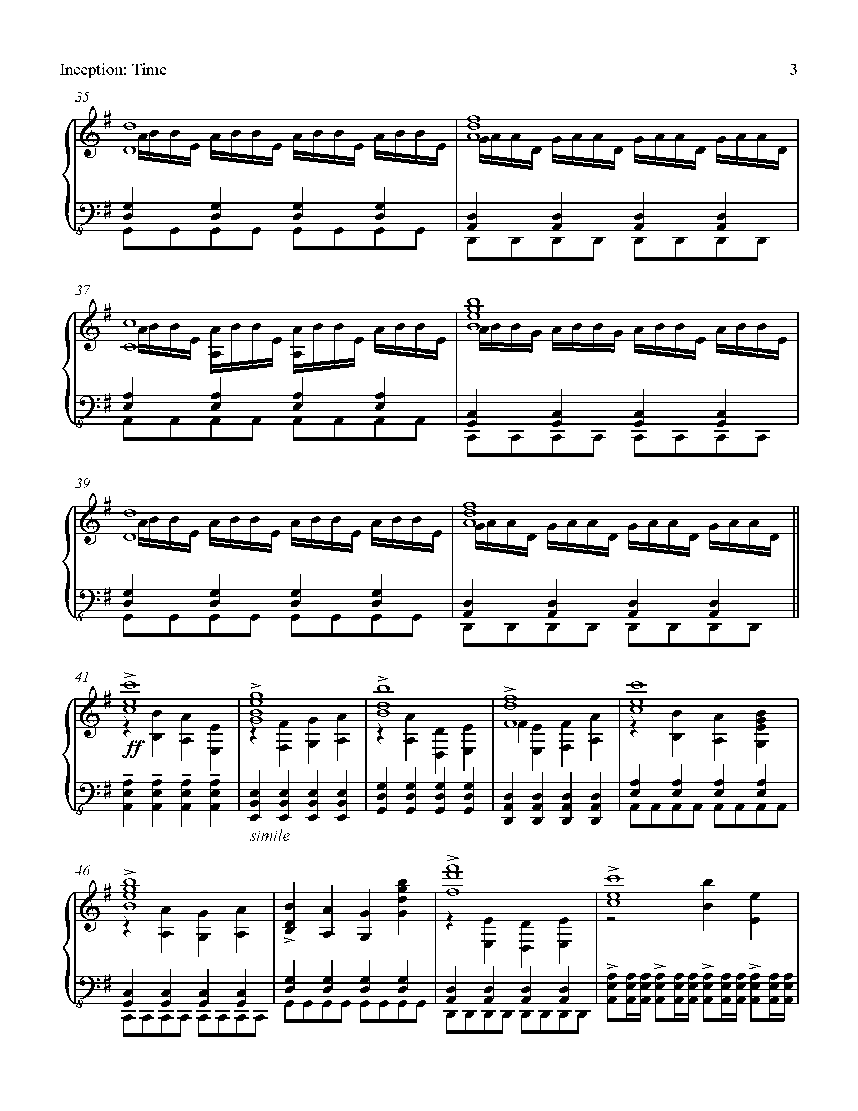 Sheet music for time from inception composed by hans for Hans zimmer time