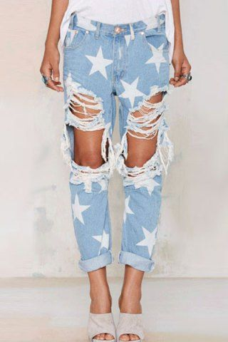 Stylish Mid Waisted Ripped Star Pattern Loose Women S Jeans