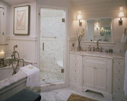 Beautiful Carrara Marble Classic Bathroom Flooring