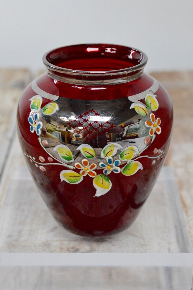 Czech Bohemian Cranberry Red Gold Glass Hand Painted Flower Vase