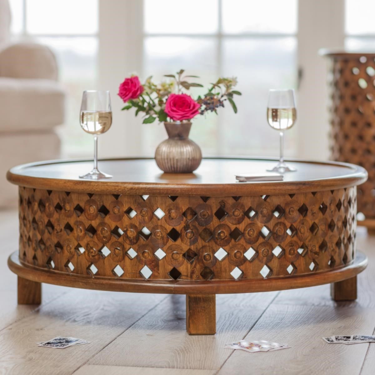 Round lattice coffee table traditional display and coffee exotic lattice coffee table made from sustainable mango wood with warm waxed finish circular design geotapseo Gallery