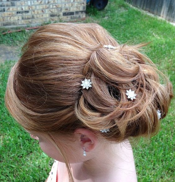 Wedding Hairstyles For Junior Bridesmaids: Side Swept Updo I Did For This Beautiful Flower Girl