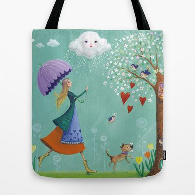 singing in the rain Tote Bag by Mila Marquis - $22.00