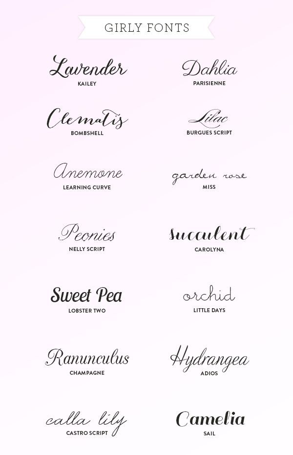 My Favorite Girly Fonts | Tattoo fonts, Calla lilies and Fonts