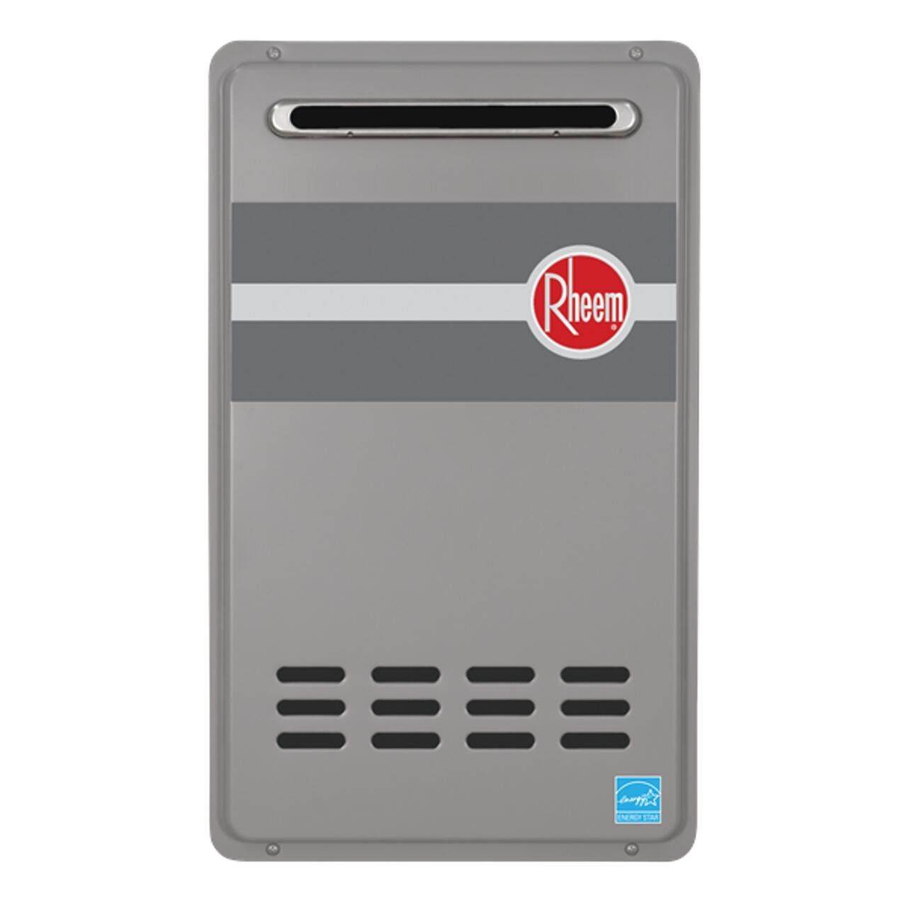Rheem Rtg 84xln 8 4 Gpm Low Nox Outdoor Tankless Natural Gas Water Heater Tankles Gas Waterheaters A Natural Gas Water Heater Gas Water Heater Water Heater