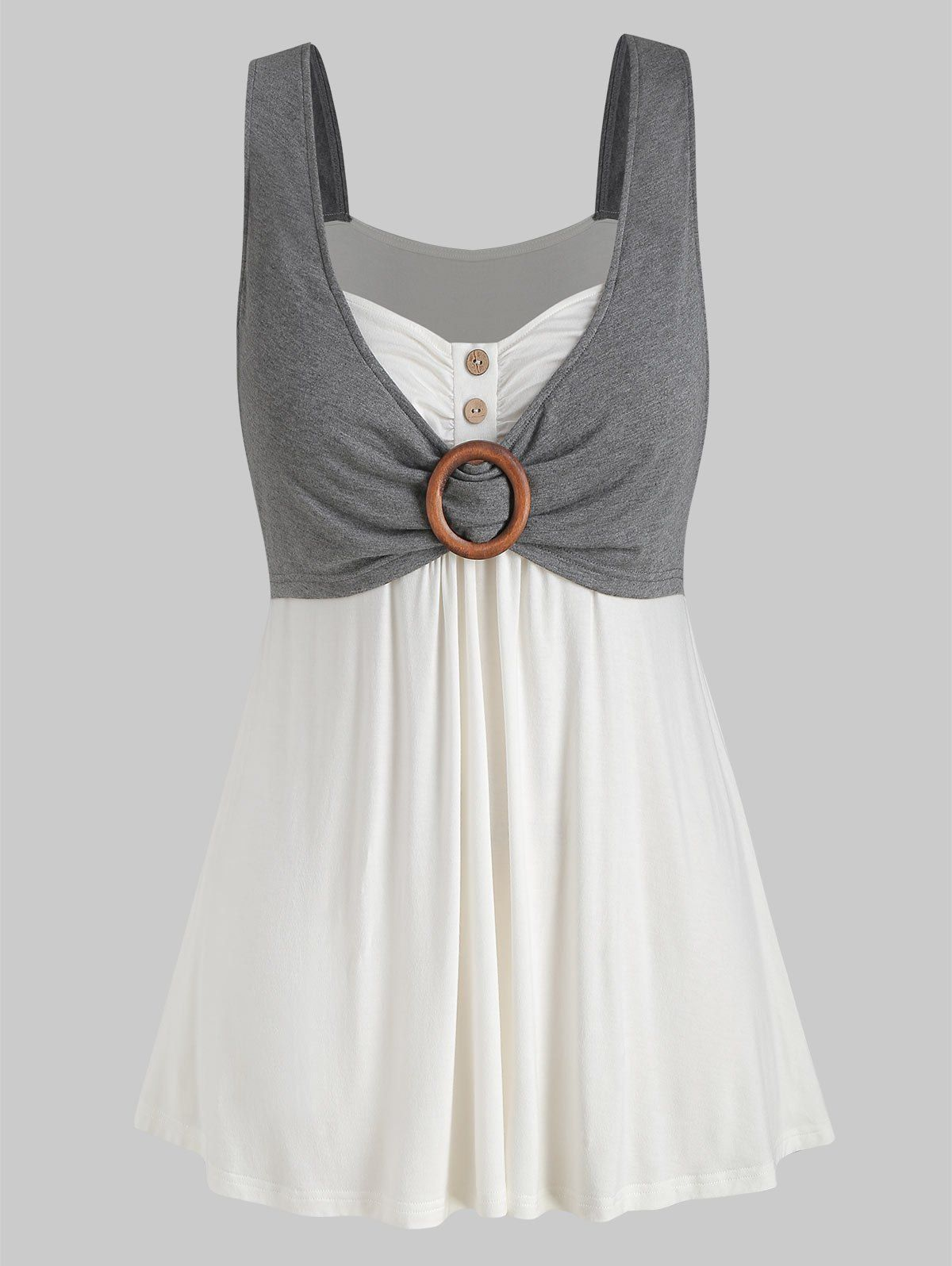 Photo of Plus Size Contrast Sweetheart Collar Button Tank Top