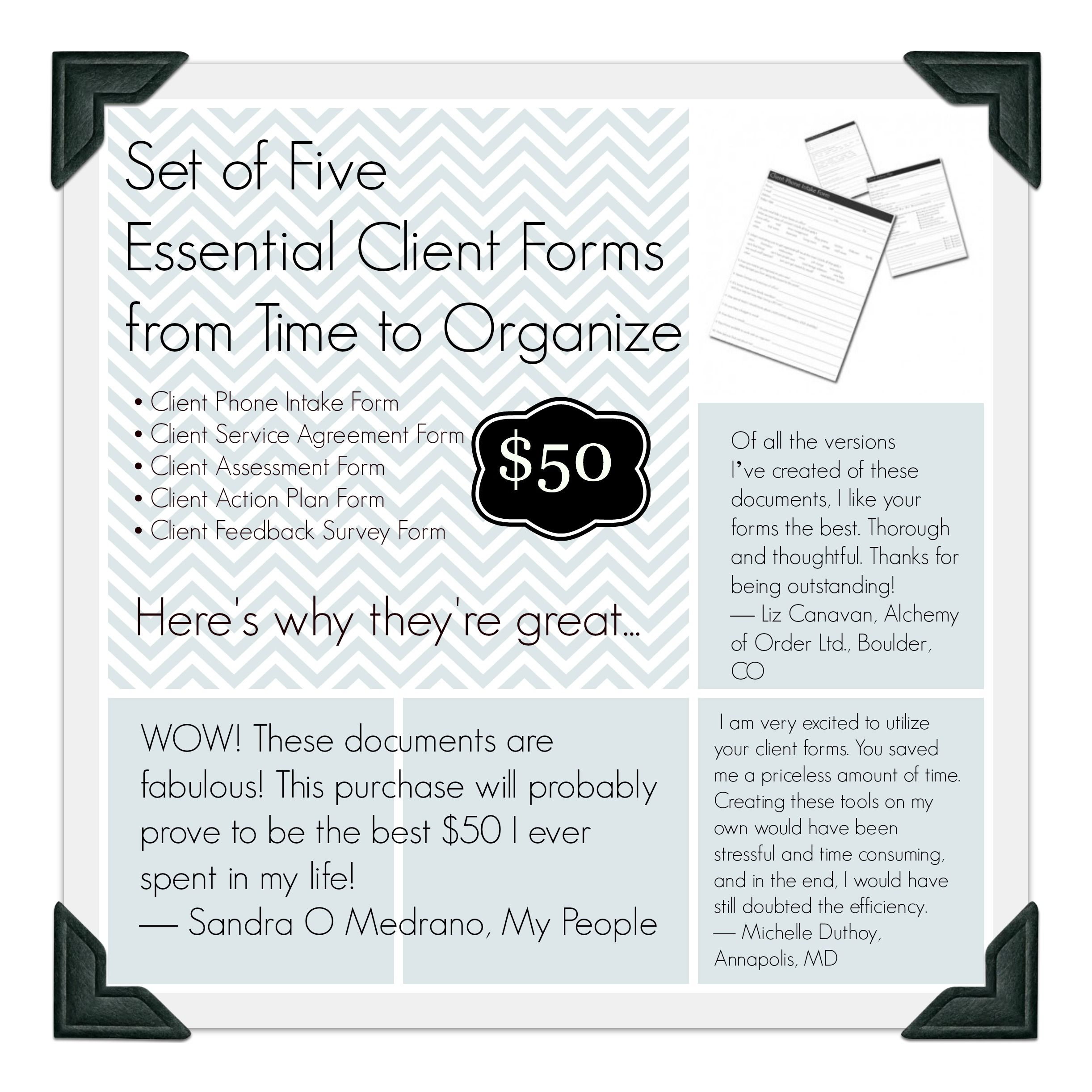 set of five essential client forms for professional organizers