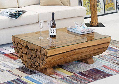 Couchtisch Teak Holz Ranting Medio Massiv | Massivholztisch Wohnzimmer Tisch