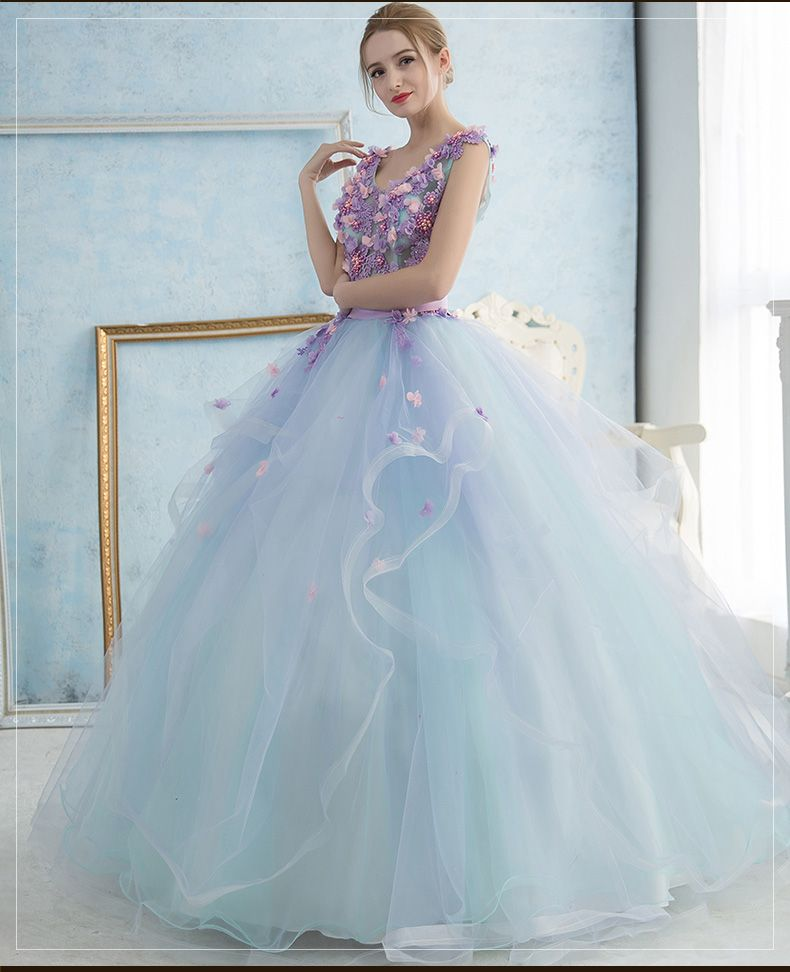 e6b5e721793 Click to Buy << 100%real studio light blue violet embroidery flowers ...