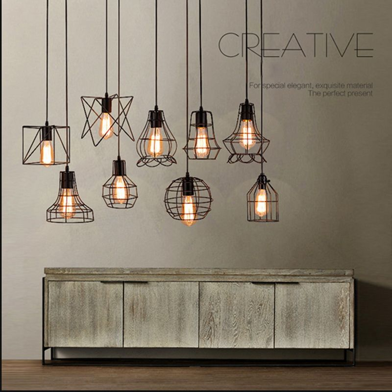 New Edison Vintage Ceiling Light Pendant Lamp Fixture Chandelier Cage Lampshade Hanging Lamp Shade Vintage Ceiling Lights Cheap Pendant Lights