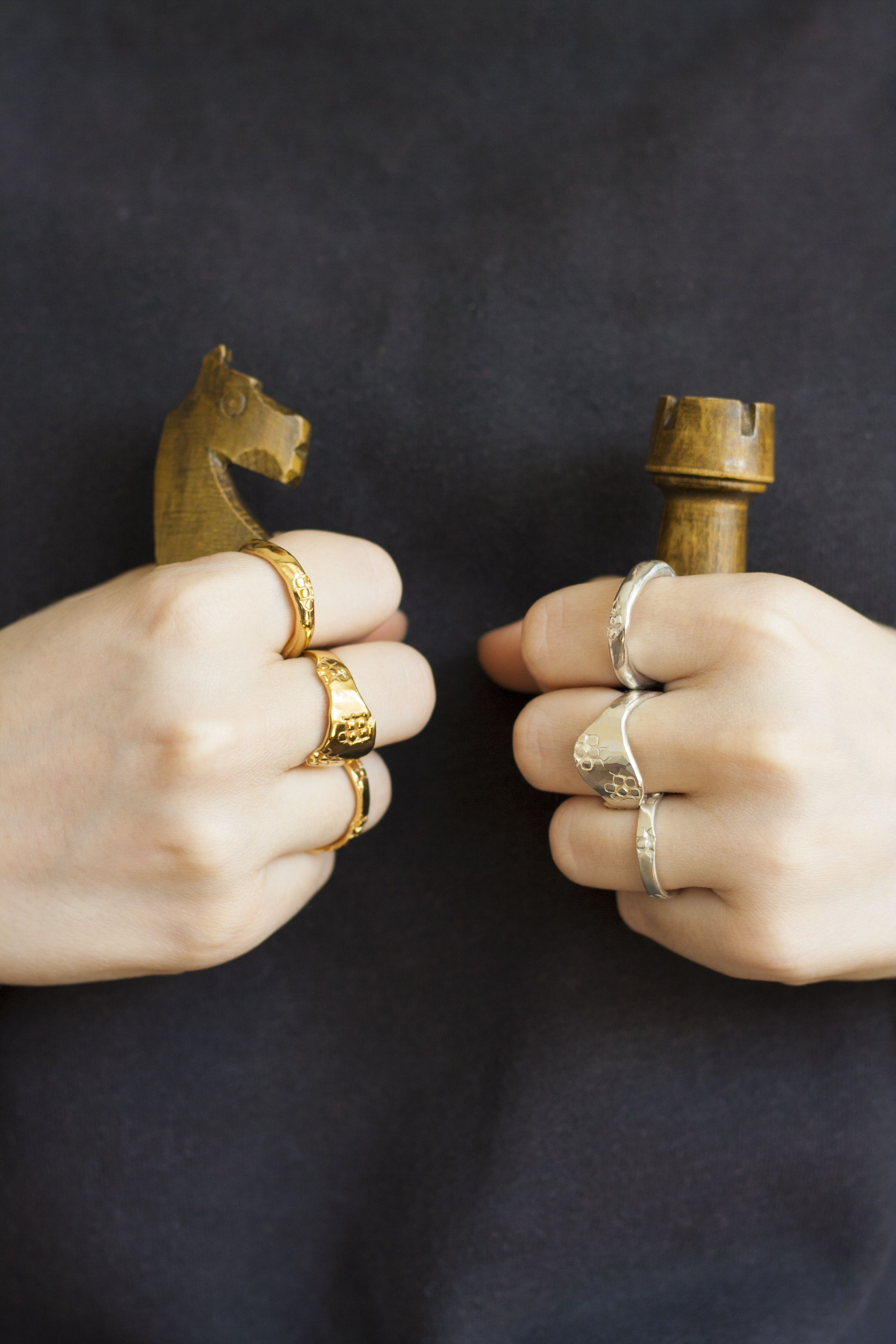 Chunky Rings From Ovals And Squares Collection By A London Based Jewellery Designer Margo Orlovik Silver And 24 Ct Gold Ve Jewelry Design Chunky Rings Jewelry