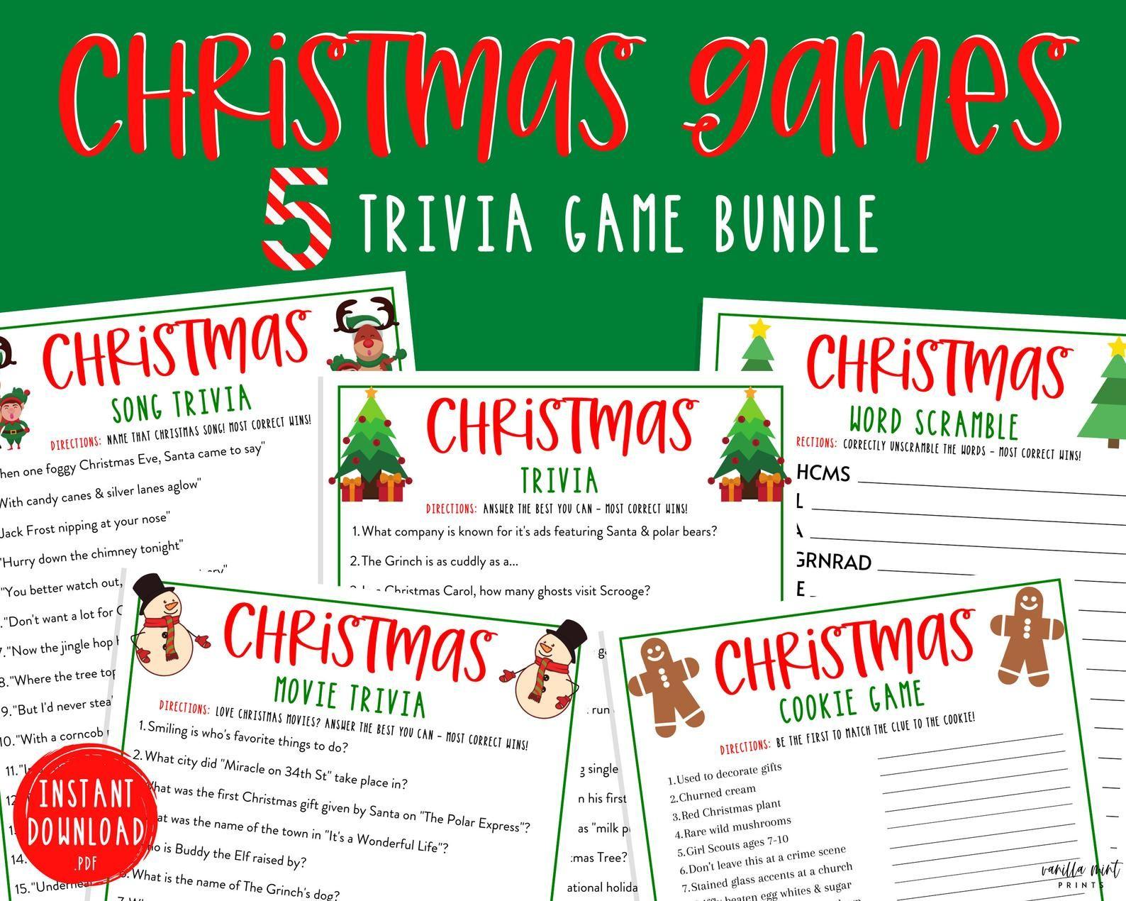 Christmas Trivia Game Bundle 5 Christmas Printable Games