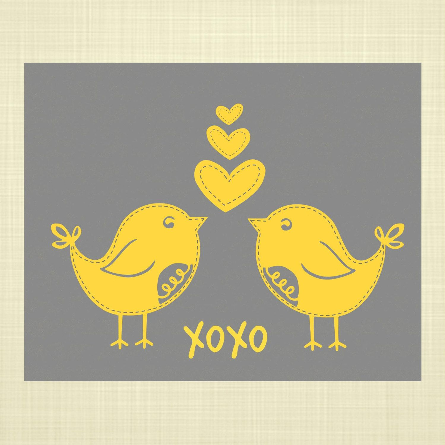 Items Similar To Stitched Lovebirds Kids Wall Art, Nursery Art,