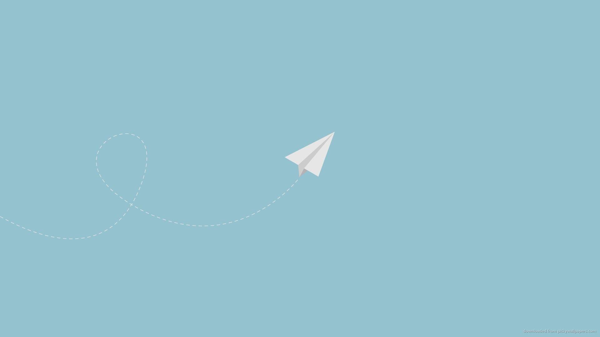 Download 1920x1080 Minimal Flying Paper Plane Wallpaper In