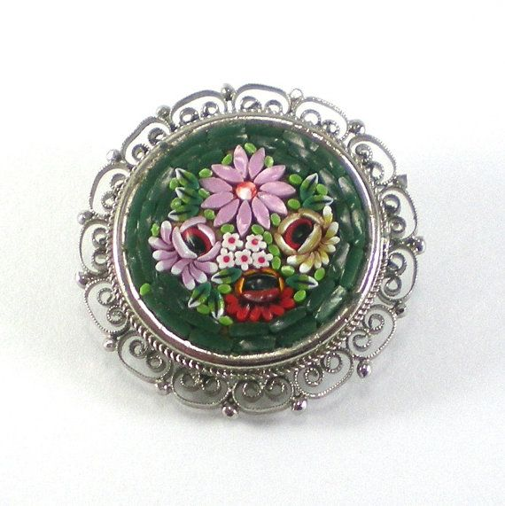 Vintage Micromosaic Brooch Bouquet of Flowers Pin by paleorama,