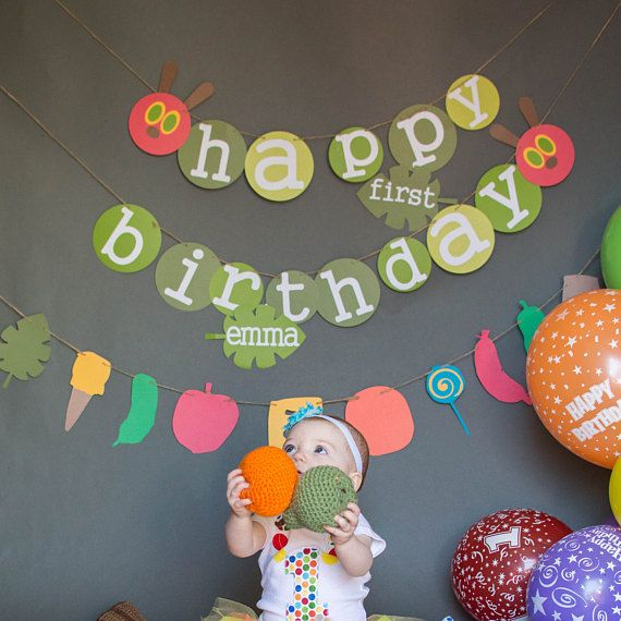 very hungry caterpillar birthday banner very hungry kindergeburtstag pinterest geburtstag. Black Bedroom Furniture Sets. Home Design Ideas