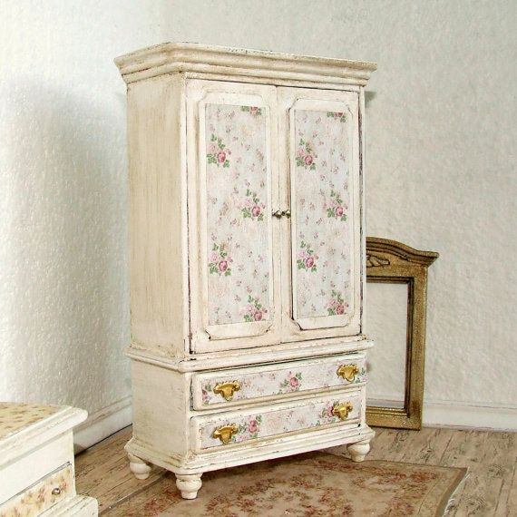 Exceptionnel OFFER  Dollhouse Miniature Distressed White Wooden Wardrobe Cupboard Armoire  Furniture Shabby Chic 12th Scale.