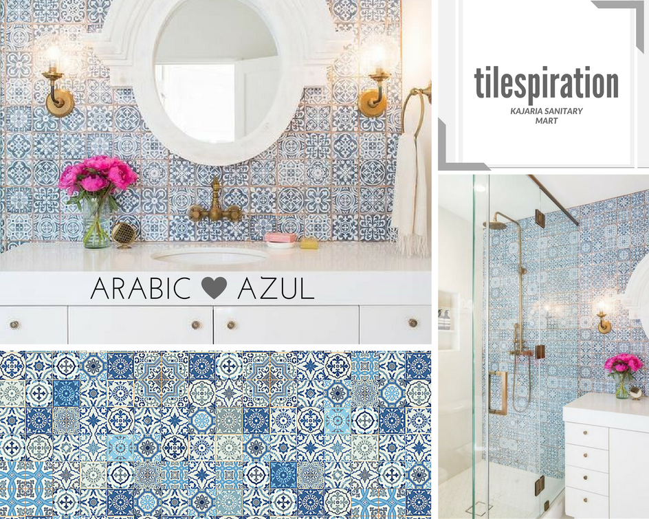 Design Inspiration White And Blue Bathroom Features A Wall Clad In Blue Vintage Arabic Pattern Wall Floor Wall And Floor Tiles Floor Tile Design Tile Floor