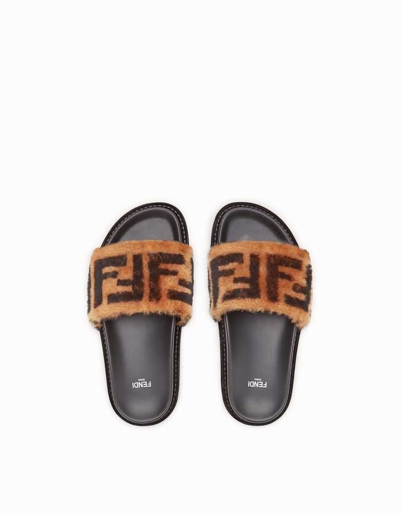 dc865df70 FENDI SANDALS - Brown leather and sheepskin slides - view 4 detail