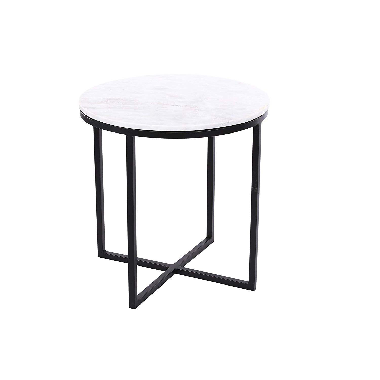Horizon Interseas Havana Black Iron Side Table With Marble Top