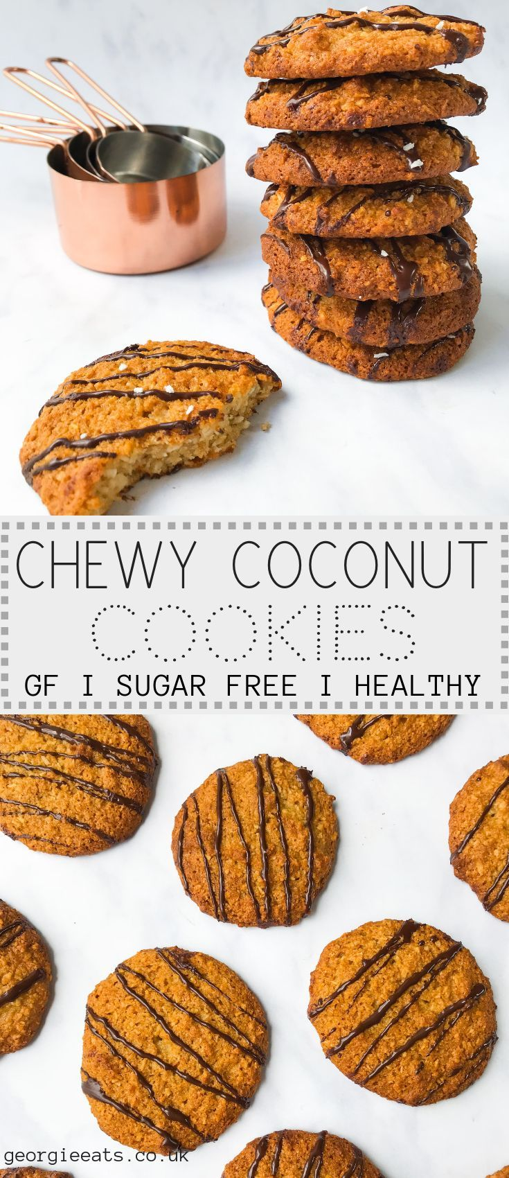 Chewy coconut cookies with a dark chocolate drizzle images