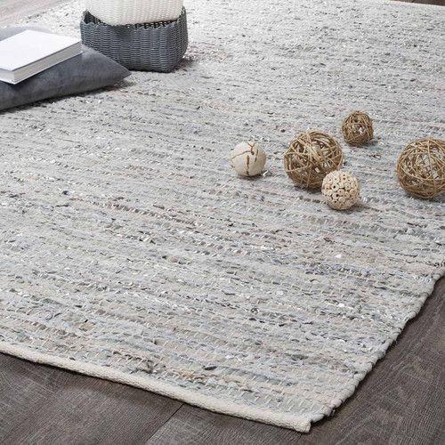 alfombra de cuero beis y gris 140 x 200 cm   salons, workspaces
