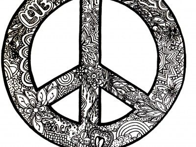 peace sign with patterns coloring page for adults - Peace Sign Mandala Coloring Pages