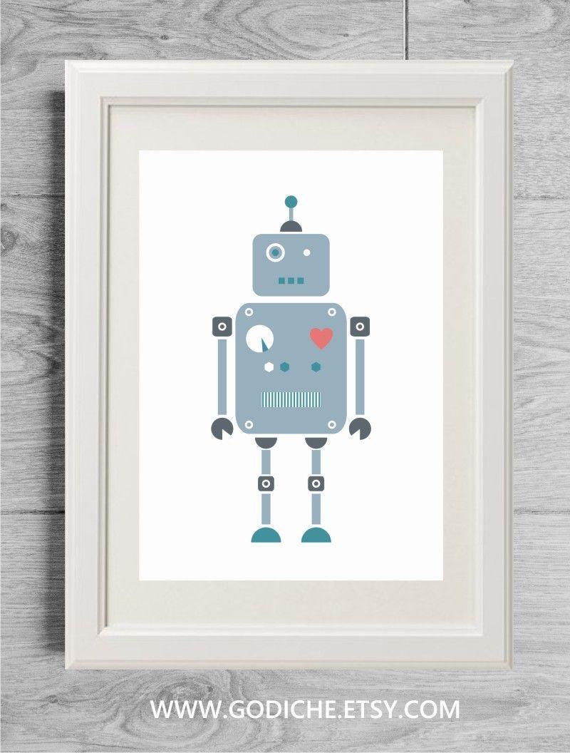 Boys gift, Baby boy gift, Blue robot poster, Robot decor, Robot ...