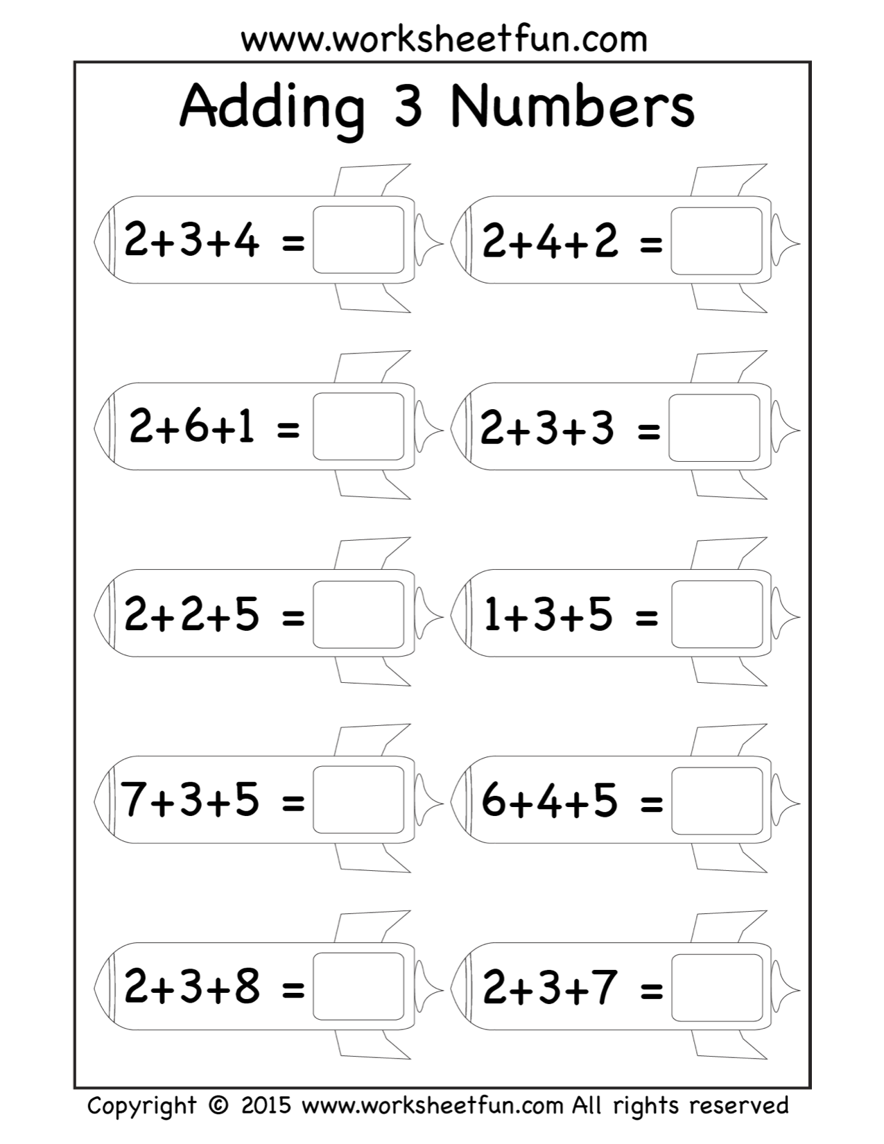 Free Three Addend Worksheets Adding 3 Numbers Rockets Math
