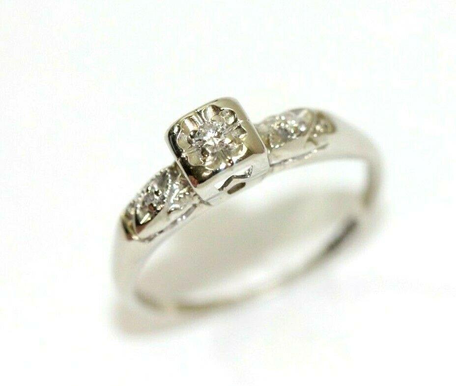 Vintage 14k White Gold 10 Carat Diamond Womens Ring Size 6 75 2 Grams Ebay In 2020 Women Rings White Gold Jewelry