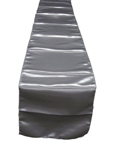 Silver Satin Table Runner 14 Inches X 144 Inches. Made In USA. Exclusively  By