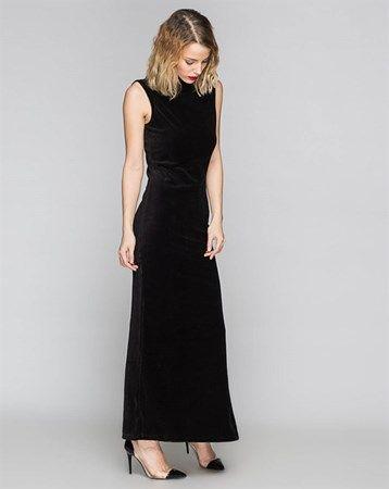 3ee0985287952 Only Siyah Sıfır Kol Tek Yırtmaçlı Maxi Boy Kadife Elbise :: 39.99 TL (KDV