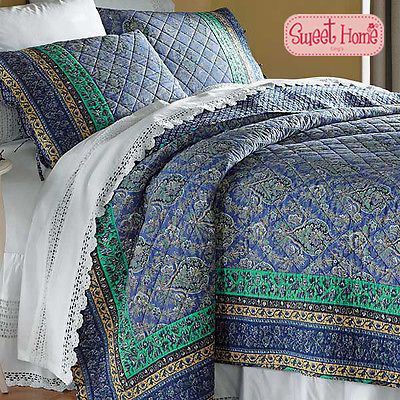 Blue Water Patchwork Bedspread Quilt 5pc Set King + Ling's Gift