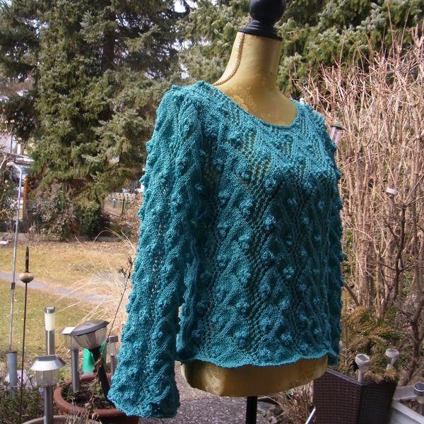 Pullover türkis von Meine Strickerei auf DaWanda.com