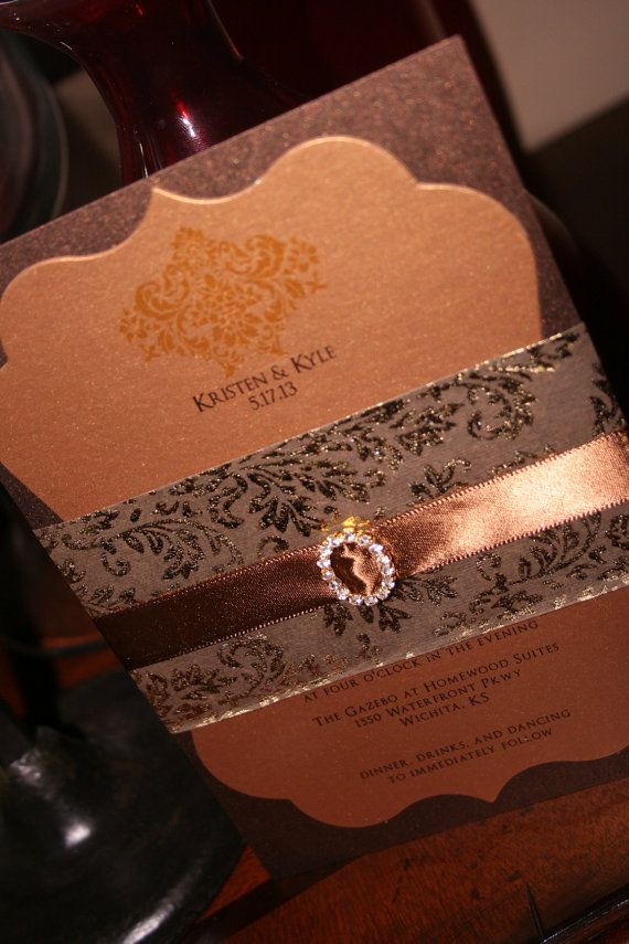 Wedding Invitation: Bronze Scalloped Frame Die Cut Wedding Invitation with Beautiful Foil Paper and Rhinestone Buckle Wrap. $5.50, via Etsy.