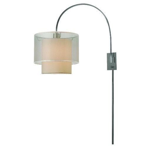trend lighting corp brella one light arc wall lamp in brushed