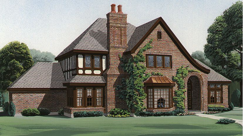 The Tudor Style Or More Accurately Tudor Revival Draws Upon Medieval Architecture To Cr French Country House Plans Tudor House Exterior French Country House