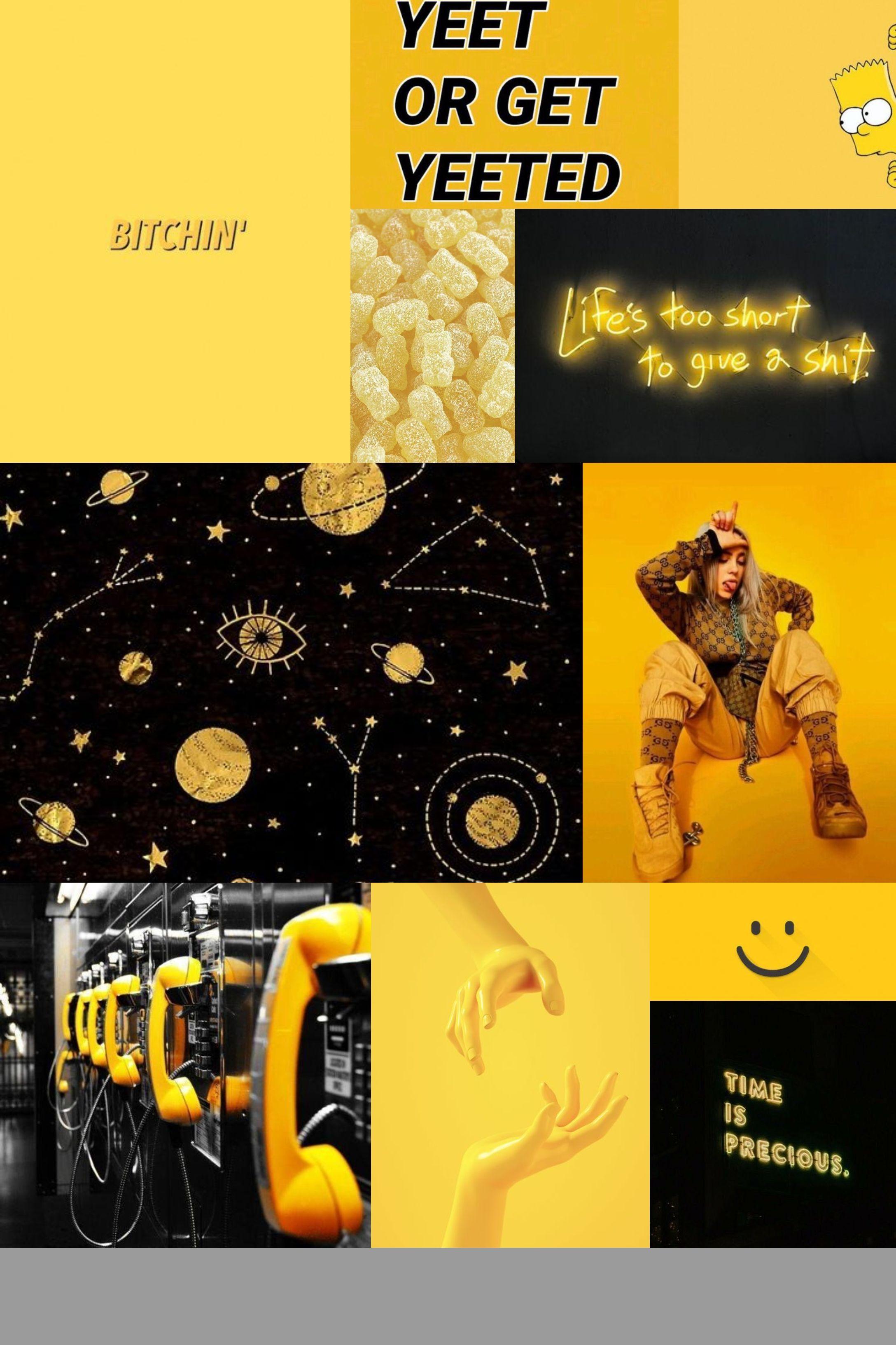 Dark Yellow Black Mood Board Aesthetic Collage Wallpaper In 2020 Iphone Wallpaper Yellow Yellow Aesthetic Yellow Aesthetic Pastel