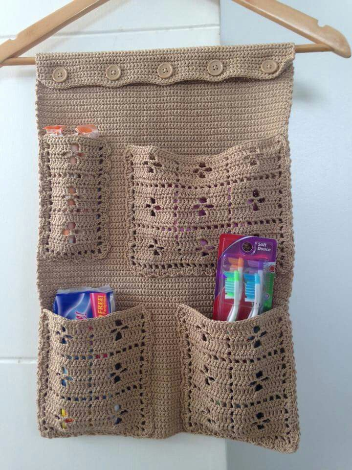 Caddy- Single crochet and call the midwife pattern pockets | Crochet ...