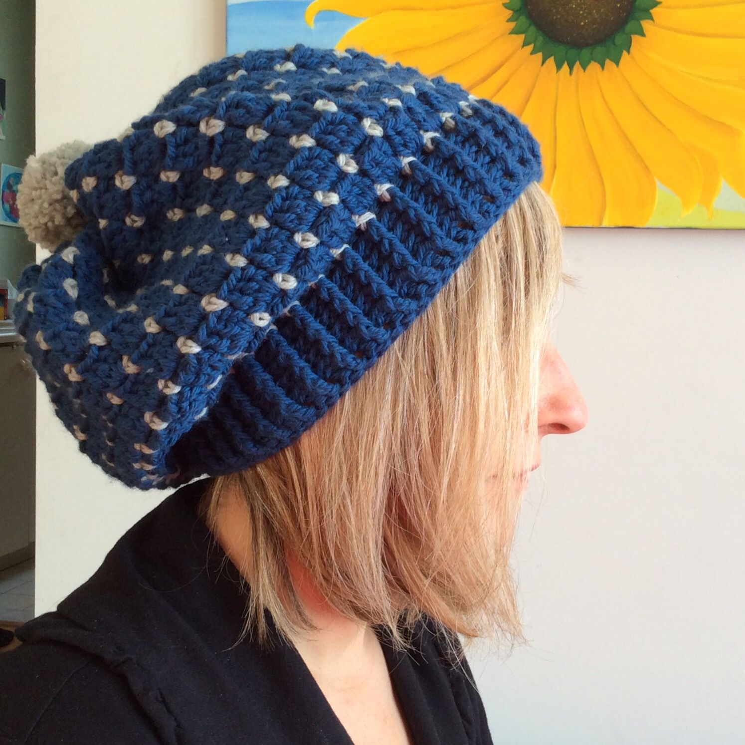 a7f7780f3b7 Kat Goldin Slouchy Bobble Hat pattern. From her book