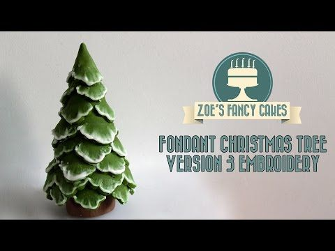 Brush Embroidery Christmas Tree Cake Topper Snow Using Fondant How To Cake Decorating Tutorial Zoes Fancy Cakes Cake Decorating Tutorials Christmas Tree Cake
