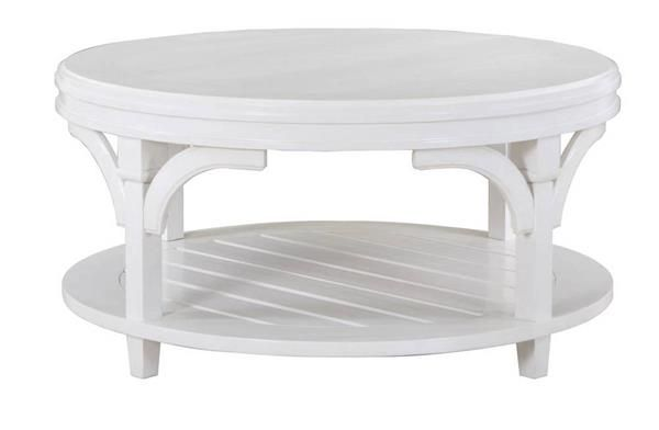 Boathouse Coastal Cottage White Wood Round Cocktail Table W Casters