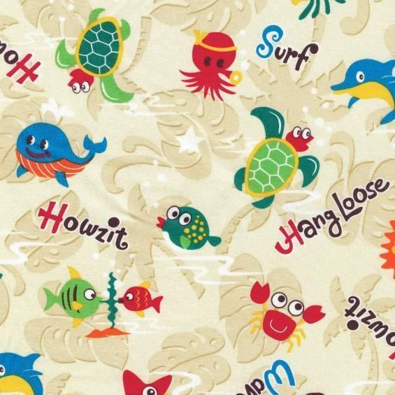 Sea Creatures Octopus Turtle Palm Tree Surf Quilt Sew Fabric TRANS-PACIFIC