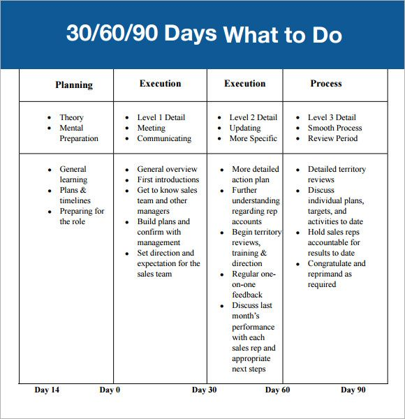 30 60 90 day plan template affordablecarecat ideas for Sales manager action plan template