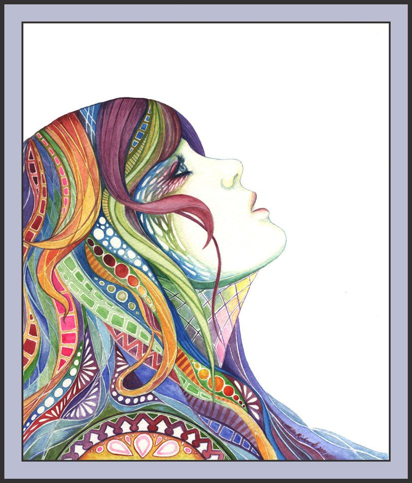 Great inspiration for self portrait drawings and colored pencil