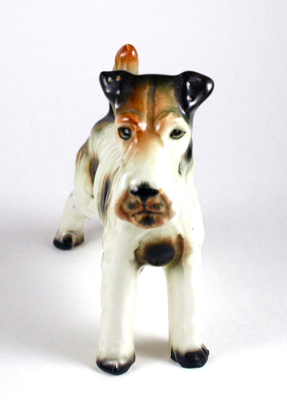 Fox Terrier Mini Hand Painted Figurine Black//White