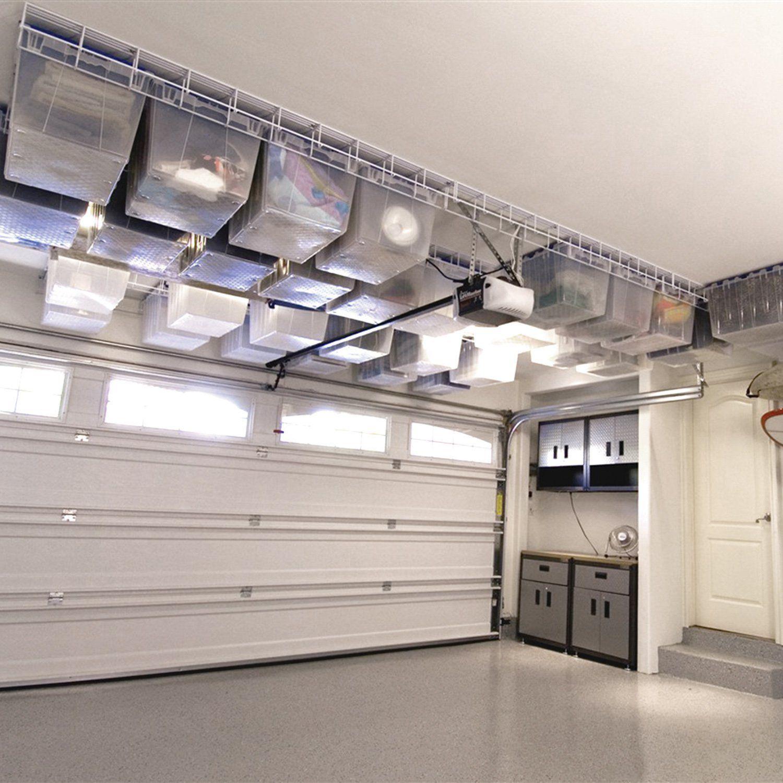 Amazon Com Garage Storage Rack System Ceiling Mounted White 1