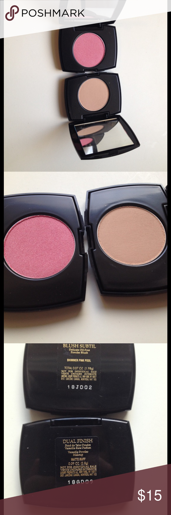 Lancôme Selling Lancôme blush subtle delicate oil free powder blush in shade shimmer pink pool size is 0.07 oz (1.98g) AND dual finish versatile powder makeup in shade matte buff size is also 0.07 oz (1.98g) TOGETHER will not sell separate. Brand new never used. No trades please. These are not full size so they don't come with a brush. Lancome Makeup Blush