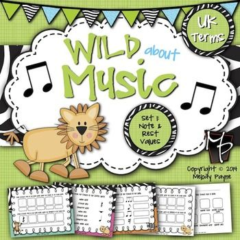 Wild About Music Set 1 Note And Rest Values Uk Terminology Music Worksheets Assessments Crotchet Mini Music Worksheets Music Curriculum Elementary Music