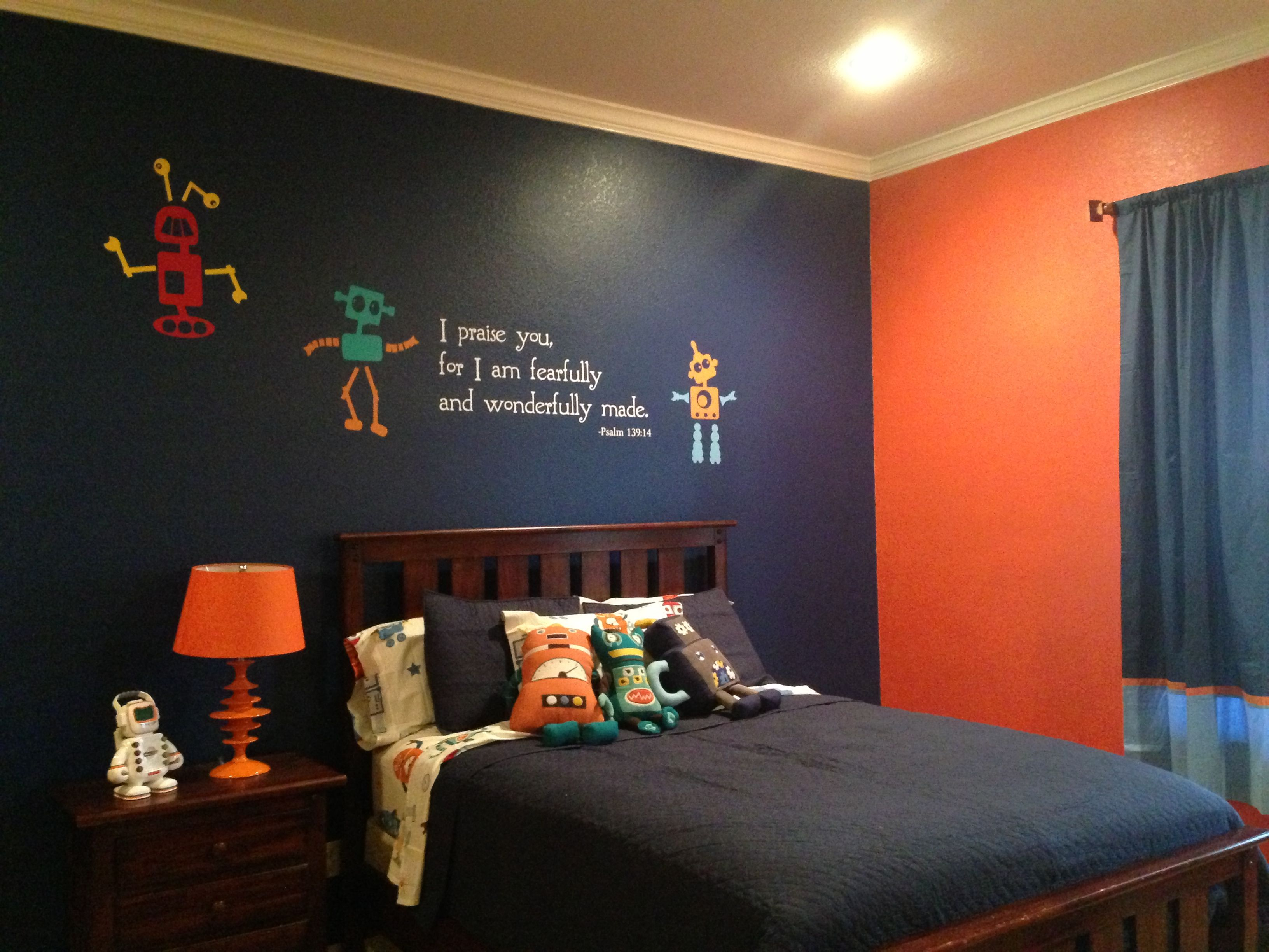 Wills Robot Room Paint Sherwin Williams Commodore Blue And Obstinate